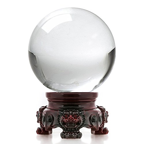 Amlong Crystal 3 inch (80mm) Clear Crystal Ball with Redwood Lion Resin Stand and Gift Box for Decorative Ball, Lensball Photography, Gazing Divination or Feng Shui, and Fortune Telling Ball