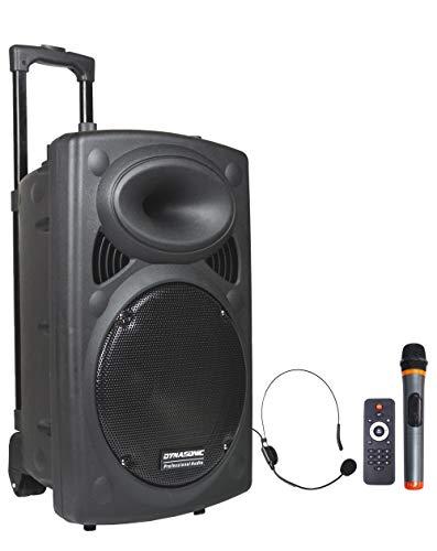 DYNASONIC - Dynapro - Altavoz Inalámbrico Sistema Audio Profesional Megafonia Portátil | Lector USB Bluetooth Radio FM y Micrófonos, Color Negro (DYNAPRO 12)