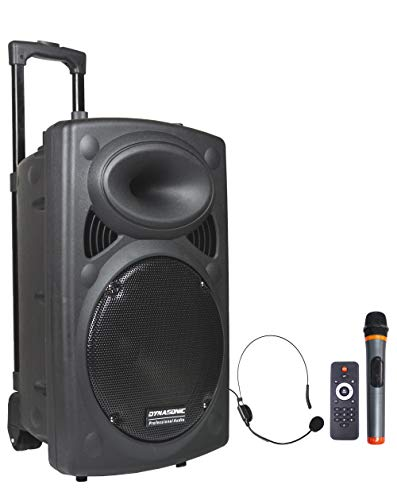 DYNASONIC - Dynapro - Altavoz Inalámbrico Sistema Audio Profesional Megafonia Portátil | Lector USB Bluetooth Radio FM y Micrófonos, Color Negro (DYNAPRO 10) (DYNAPRO 12)