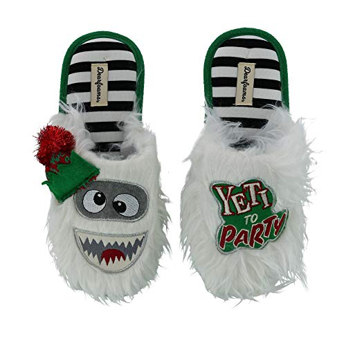 Price comparison product image Dearfoams Unisex Holiday Funny Character Ugly Sweater Scuff Slipper,  Yeti,  Medium