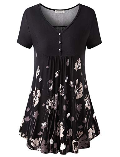 BAISHENGGT Women's V Neck Buttons Pleated Flared Tunic Tops Black Floral XL