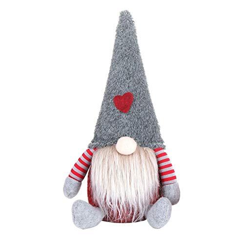 Handfly Adornos de muñecas de gnomo de felpa Sueco Navidad Santa con sombrero rojo Figurilla de duende nórdico...