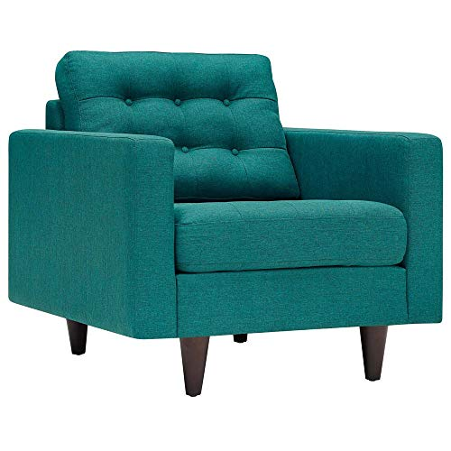 Modway EEI-1013-TEA Empress Mid-Century Modern Upholstered Fabric Accent Arm Lounge Chair Teal