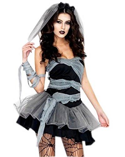 Fancyland Frauen Vampire Cosplay Geisterbraut Halloween Abendkleid Karneval Kostüm für Damen Einheitsgröße M/L