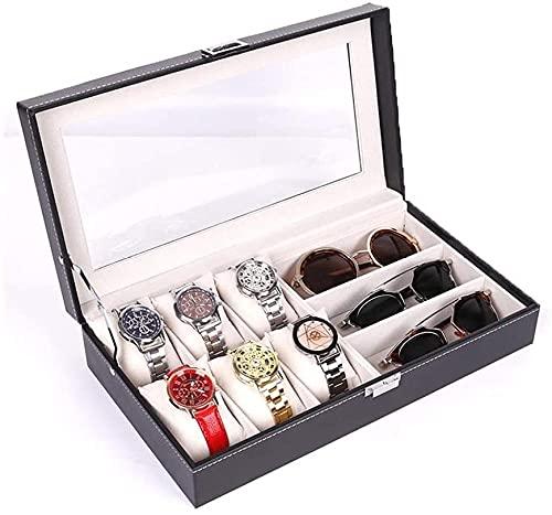 Caja de almacenamiento para joyas y gafas de sol, 6 cajas de reloj y 3 cajas de cristal, piel sintética, caja de regalo