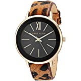 Anne Klein Women's Gold-Tone and Leopard Patterned Leather Strap Watch, AK/3252BKLE