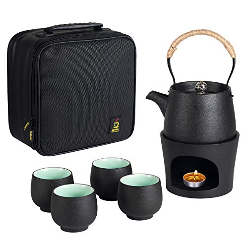 Travel Ceramic Teapot with Tea Stovetop Warmer Gift Set 1 Pot 4 Mini Cups Chinese Kung Fu Tea Pot Porcelain Teacups Portable Protective Bag for Outdoor Picnic Camping (Black)