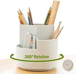 NBEST™ Pen Holder-360 degree rotating multi-functional pen holder, 3 separate layer desktop stationery storage bags, desk ...