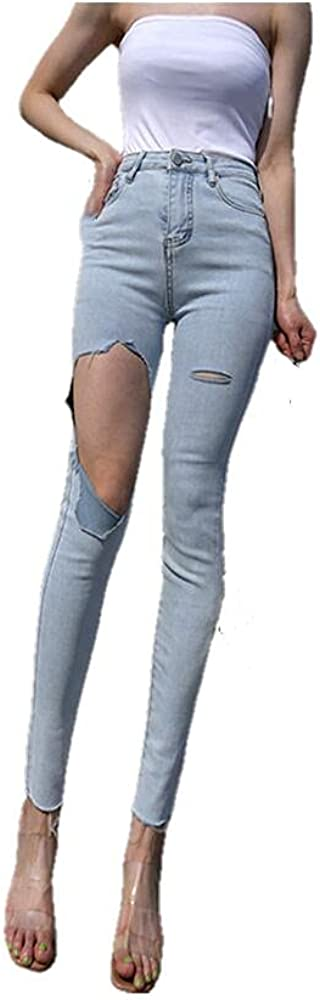 NP Clothing Ripped Women's Pencil Jeans Pants Casual High Waist Buttons