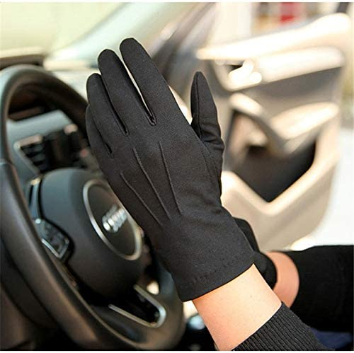 Summer Sun Protection Gloves Male Thin Breathable Anti-Slip Driving Gloves Anti-UV Full Fingers Man Mittens SZ105W1 - (Color: Black, Gloves Size: XL)