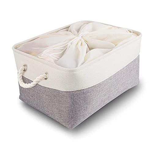 Mangata Caja de Almacenamiento Ropa XXL, cestas de almacenaje Tela, Plegable Cajas organizadoras para Juguetes, armarios (Extra Grand, Gris Blanco)