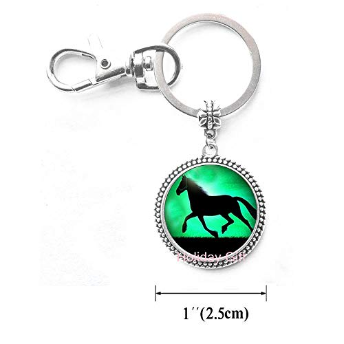 Black Horse Keychain Running Horse Key Ring Glass Animal Jewelry Keychain Key Ring.HTY-152