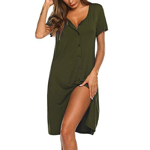 Vestido Sunmmer para mujer, ropa de dormir para mujer, manga corta, botones, camisón suave para dormir para vacaciones