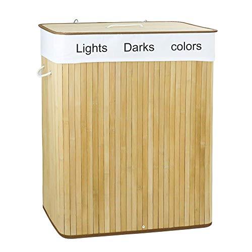 Cozy Vibe Bambus Nature Grau Wäschesortierer Wäschebox, Wäschesammler mit 3Fächern, Wäschesortierer mit Deckel und herausnehmbarem Wäschesack, Tragegriffe aus Baumwolle, 102 L Wäschebox, naturfarben