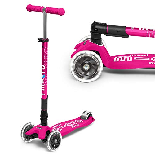 Micro Maxi Deluxe Foldable Pink Led Scooter