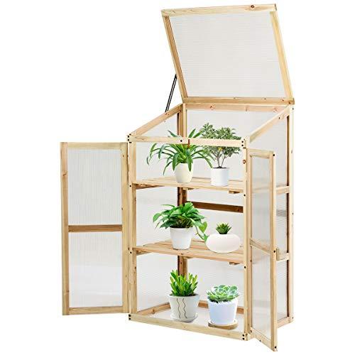 Costway Mini Serre en Bois 60x45x100CM Vitrages Transparents en Polycarbonate Plateau Supérieur Amovible avec Etagères à 3 Niveaux pour Jardin/Balcon/Porche