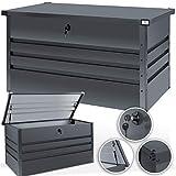 Kesser® Metall Auflagenbox 360L abschließbar 2 Schlüsseln Gasdruckfeder Metallaufbewahrungsbox Kissenbox Gartentruhe Gartenbox Gerätebox Garten Aufbewahrungsbox, Anthrazit