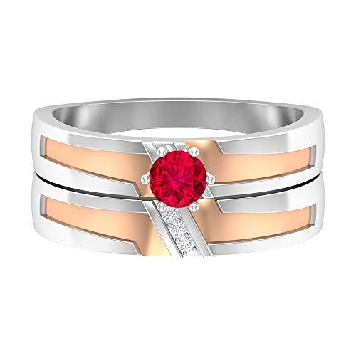 Piedra de nacimiento de julio — Solitario anillo redondo de 4 mm rubí con diamante 1/2 quilate, conjunto de anillos de boda, anillo de compromiso de dos tonos, 14K Oro blanco, Size:EU 58
