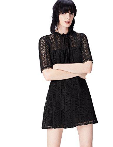 find. Kleid Damen aus Spitze mit Schluppe am Kragen Schwarz (Black), 38 (Herstellergröße: Medium)