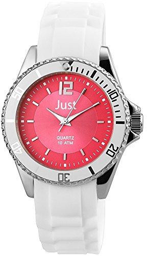 Just Watches 48-S3863-PI - Orologio da polso da donna, cinturino in caucciù colore bianco