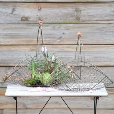 Vintage Home IJzeren mand met houten handvat set van 2 mandjes mand draadmand Fil de Fer fruitmand eiermand bloemenmand bewaarmand in set