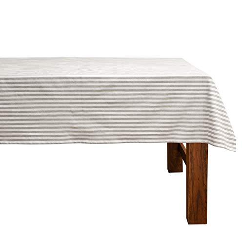 FILU Tischdecke 140 x 200 cm Grau/Weiß gestreift (Farbe und Größe wählbar) - hochwertig gefertigtes Tischtuch aus 100% Baumwolle