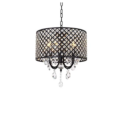Lámpara colgante de cristal, 4 luces, con relieve de cristal del tambor sombra barnizada Light Lamp