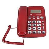 Teléfono de identificación de Llamadas de Negocios Nacionales Teléfono Fijo de Llamadas Manos Libres para Oficina en casa Hotel(Rojo)