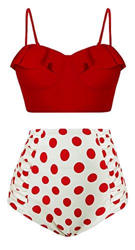 Angerella Vintage Costume da Bagno A Vita Alta Polka Dot Bikini Set Strap Push Up