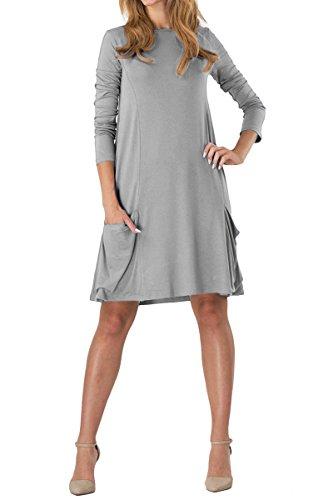 YMing Mujeres Vestido Casual Camisa Larga túnica Suelta con Bolsillo Manga Larga Vestido de túnica, XS-3XL