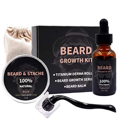 Odoukey Beard Growth Kit Serum Ölbalsam Microneedle Roller Bart Growing Set Bartpflege Geschenk für Männer