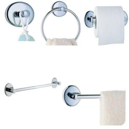 Plumb USA 4-teiliges Badezimmer-Zubehör-Set, inklusive Handtuchstange, Toilettenpapierhalter, Handtuchring und Bademantelhaken, verchromt