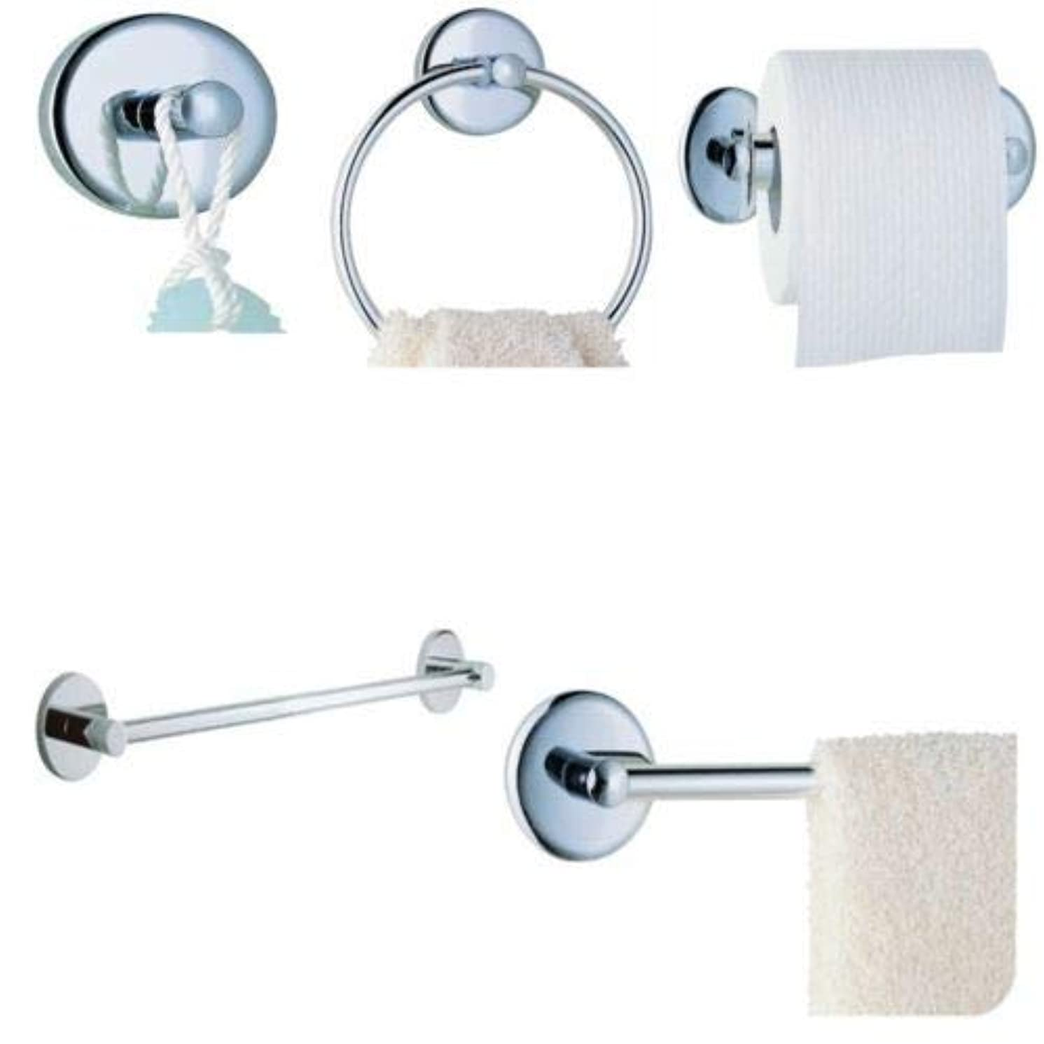 4-piece Bathroom Hardware Accessory Set, Includes Towel Bar, Toilet Paper Holder, Towel Ring and Robe Hook, Chrome Finish - By Plumb USA
