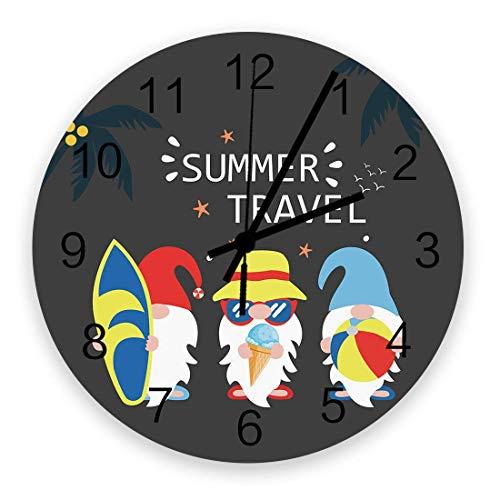 Reloj de Pared artístico para decoración de Sala de Estar, Viajes de Verano, Playa, Enano con Tabla de Surf, Gafas de Sol, Fondo Negro, Elegante, silencioso, Funciona con Pilas, Colgantes, Relojes de
