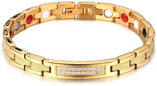FEE-ZC Mooie Magnetische Armband Klassieke Persoonlijkheid Titanium Magnetische Energie Magneet Anion Pijnverlichting voor Artritis Verjaardag Sieraden Giftbelt Streep met Diamant Goud