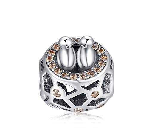 EVESCITY Best Quality Many Styles Silver Pendents 925 Sterling Beads Fits Pandora, Similar Charm Bracelets & Necklaces (Two Love Birds And Nest)