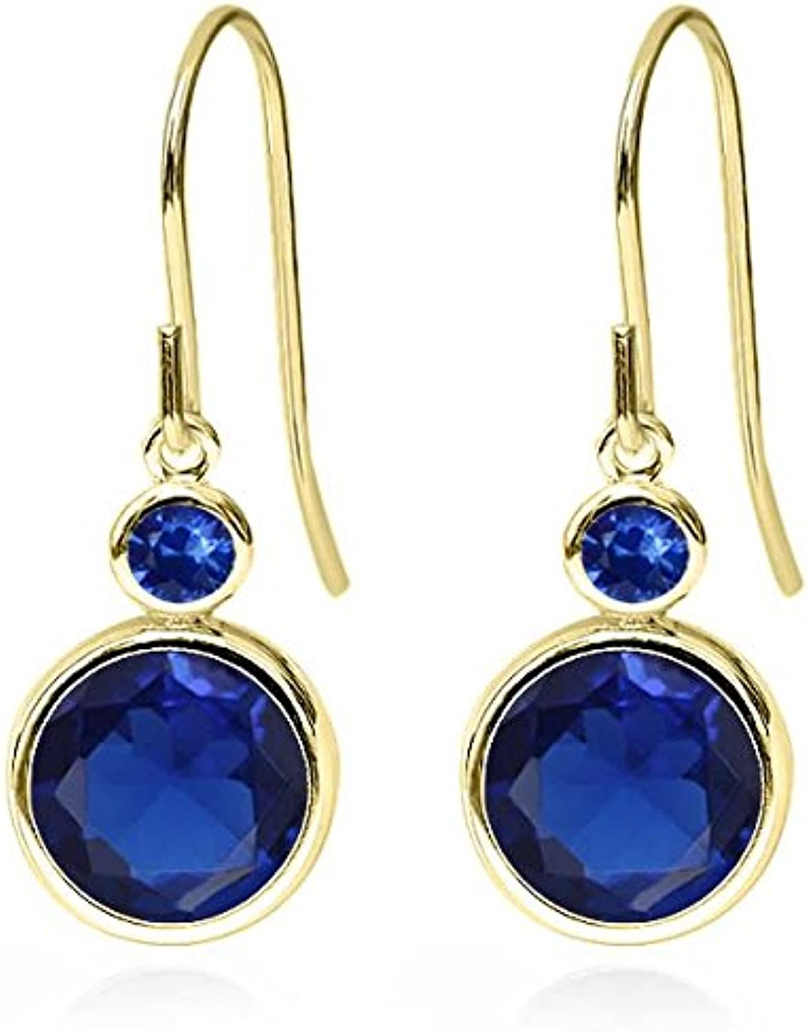 4.50 Ct Round bluee Simulated Sapphire bluee Sapphire 14K Yellow gold Earrings