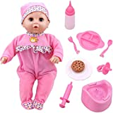 ToyChoi's Pretend Play Series 16 Inch Baby Pink Doll, with Different Baby Sound and Accessories Preschool Toy Gift for Kids Toddler Baby Children Boys and Girls