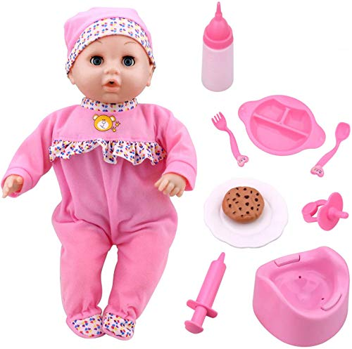 Toy Choi's Pretend Play Series 16 Inch Baby Pink Doll, Crying, Talking Baby Doll with Different Sound, Funny Feeding Accessories Preschool Gift for Toddler 2 Years Old Boys and Girls