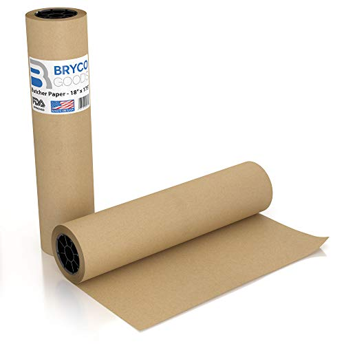 Brown Kraft Butcher Paper Roll - 18 Inch x 175 Feet (2100 Inch) - Food Grade FDA Approved – Great Smoking Wrapping Paper for Meat of all Varieties – Made in USA – Unbleached Unwaxed and Uncoated