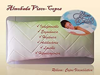 El Molino Almohada Visco- Copos (rellena de Copos de visco) Lienzo Dorado (90 cm)