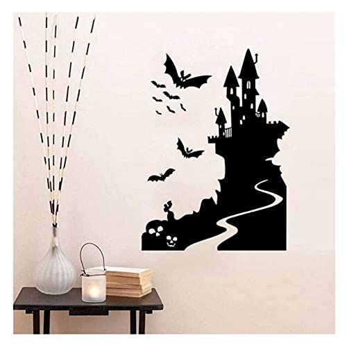 Halloween raamstickers, Happy Wall Home Decoration Stickers Decoratie Halloween 79Cmx58cm (Kleur: Zwart)