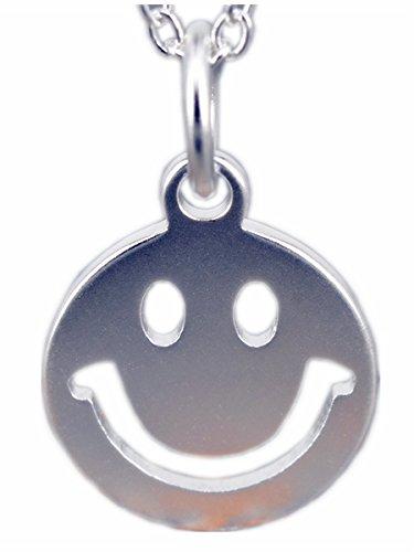NicoWerk Damen Silberkette mit Anhänger Smiley aus 925 Sterling Silber Strichgesicht SKE170