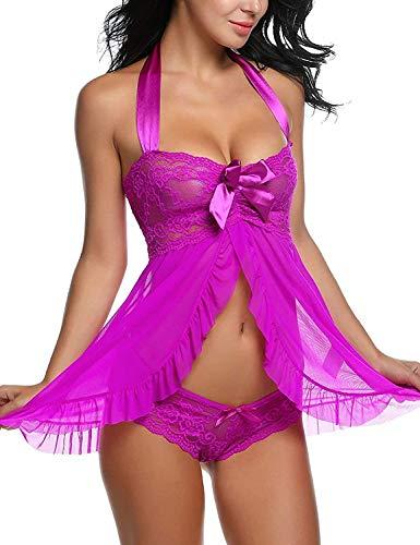 CheChury Conjunto de Lencería Sexy Ropa Interior para Mujer Babydoll Frente Abierto Camisón de Encaje Floral Chaquetas Vestidos Malla Lingerie Transparente