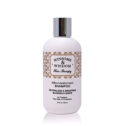 BlondeMoment Purple Shampoo for Blonde Hair High Lights Toning Toner Violet Blue Grey 8.5 Oz Alcohol Paraben Free Color Safe UV Protectant Winsome & Wisdom Cruelty Free Professional Hair Products