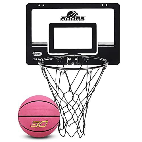 Canasta de Baloncesto Mini Kit De Aro De Baloncesto, Asador De Baloncesto De La Oficina En Casa Sin Golpe, para Adultos Y Niños, con 2 Bolas De Baloncesto (Size : 45.5x30.5cm)