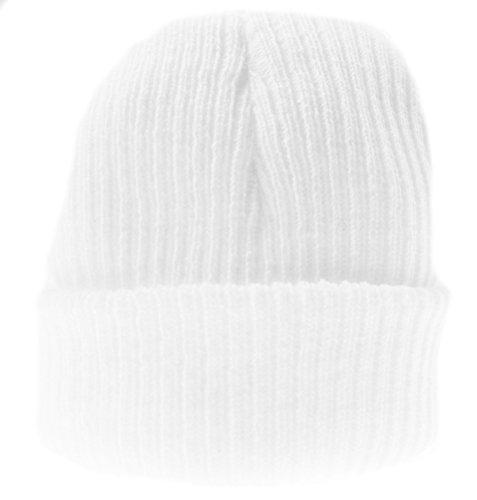 Bébé Fille Garçon Chaud Hiver côtelé en Tricot côtelé Bonnet - Blanc - Taille Unique