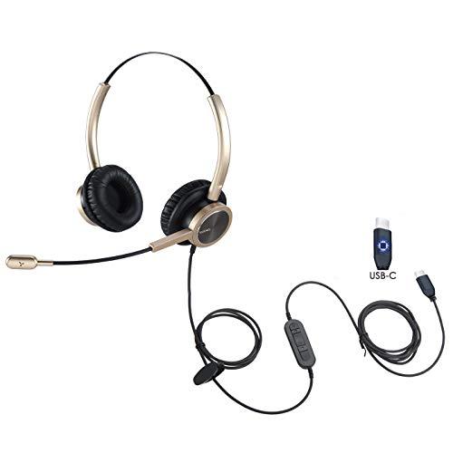 USB-Typ-C-Kopfhörer, Headset mit Geräuschunterdrückung, Mikrofon, USB-C-Stecker für PC, Mac, Tablet, kompatibel mit Windows Android Mac, für Samsung S20, Note 10/10+, iPad Pro 2020 2018, iPad, Huawei
