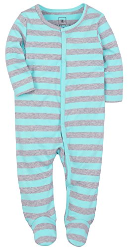 HONGLIN Baby Girl and Boys Footies Pajamas Blue and Grey Striped Cotton Romper 6-9 Months