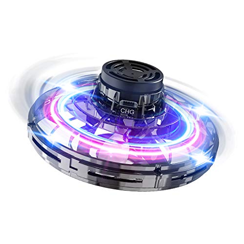 FLYNOVA Hand Operated Drones,Mini Flying Ball Toys,Helicopter Toys with 360° Rotating and Shining LED Lights for Kids Adults Outdoor Fun (Black)